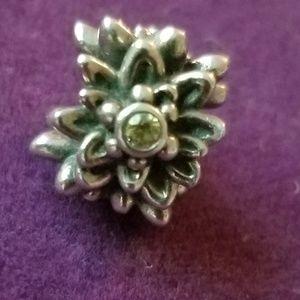 Pandora charms green stone